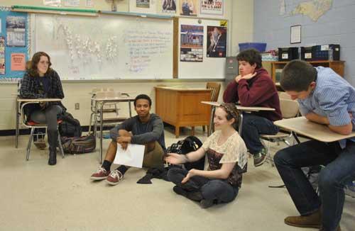 Members of the Jordan GSA look on as co-president Hannah Rice (center) speaks. (Staff photo by Cammie Bellamy)