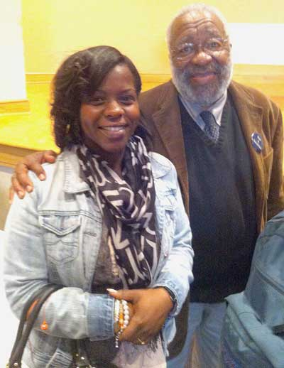 Brittany Dunn and Vincent Harding attended the Freedom Ride trip together. Harding, a civil rights legend, recently returned from the Middle East where he was promoting peace-building between Israel and Palestinians in the West Bank.   Photo Courtesy of YO:Durham