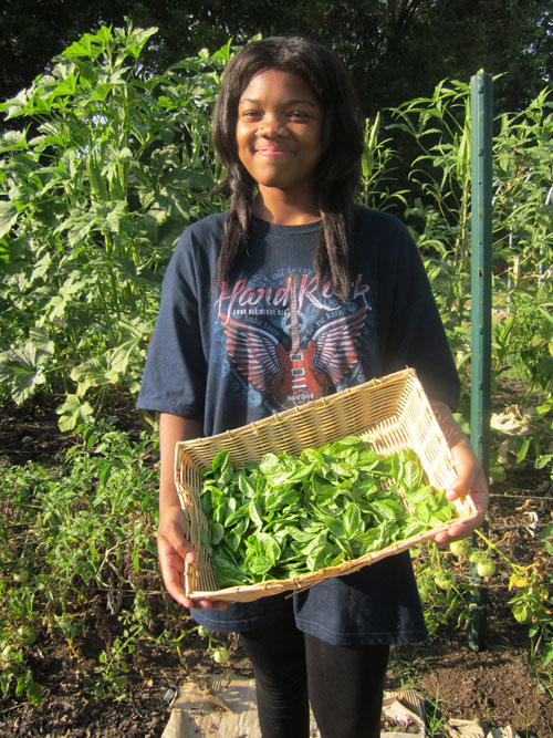 Andresha Mcphaul spends about 16 hours a week working at SEEDS, a community garden located in downtown Durham that promotes sustainable agriculture. Mcphaul says she hopes to encourage others to learn about where their food comes from and support local mini urban farms. (Staff photo by Wendy Lu)