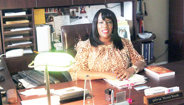 Early College Principal Gloria Woods-Weeks in her office in the Robinson Science Building. Photo by Jasmine Holeman