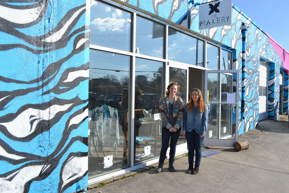 Nordgren and DeConto proudly stand in front of their new shop, The Makery. Makery, in Downtown Durham (Staff photo by Alyssa Armstrong).