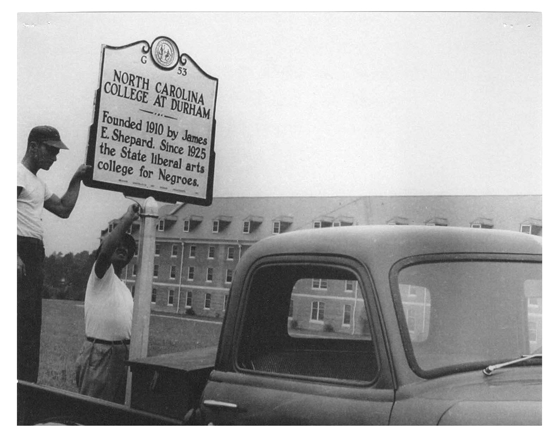 Workmen construct the North Carolina College at Durham Marker in 1950. N.C. Central University is hosting notable Black History Month activities all February. For a schedule of events, visit NCCU's website or click here. (Photo courtesy of the James E. Shepard Memorial Library, NCCU)
