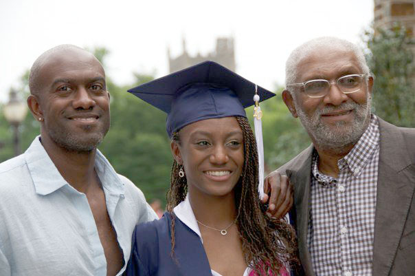 Tristine Johnson celebrates with her father, Allen, (left) and grandfather Ramon Judkins after her graduation from Jordan High School. (Contributed by Tristine Johnson)