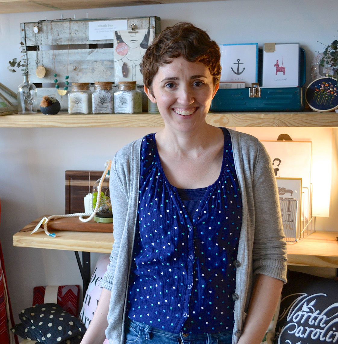 Rock and Shop creator, Michelle Smith, poses for a picture at her Cary-based store, Gather.