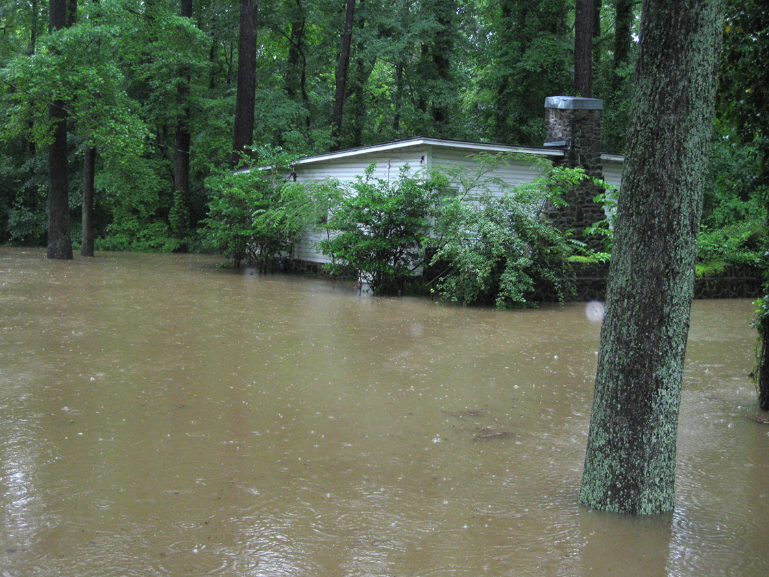 The vacant Lavender house has been flooded occasionally after heavy rains. (Photo courtesy of Durham Parks and Recreation)