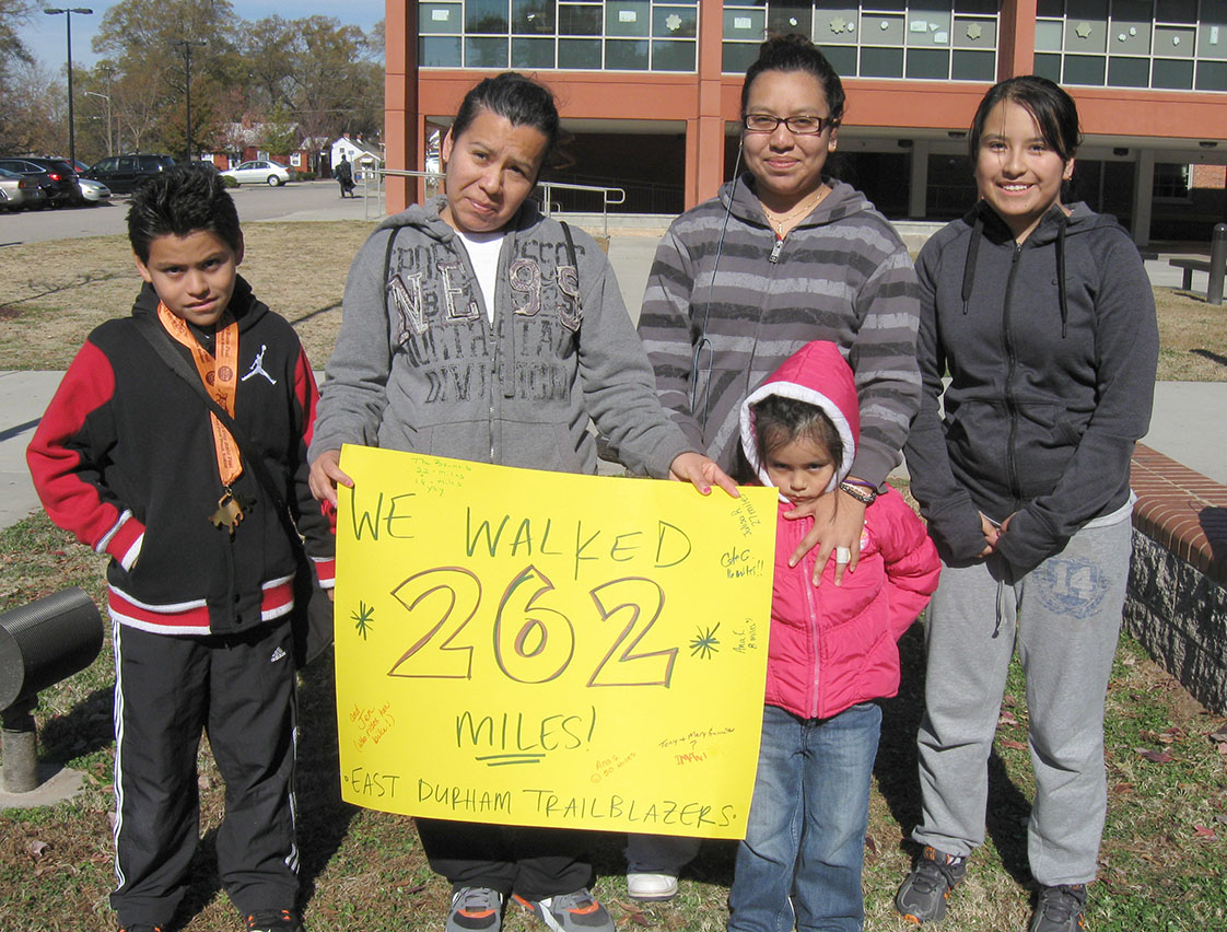 Ana Gonzalez (second from left) and her children Diego, Ana, Anel and Julisa, from left to right. The family walked a total of 143 miles, if you include Anel's 50 miles in a stroller. The oldest Ana won first place for most miles tracked at 50.