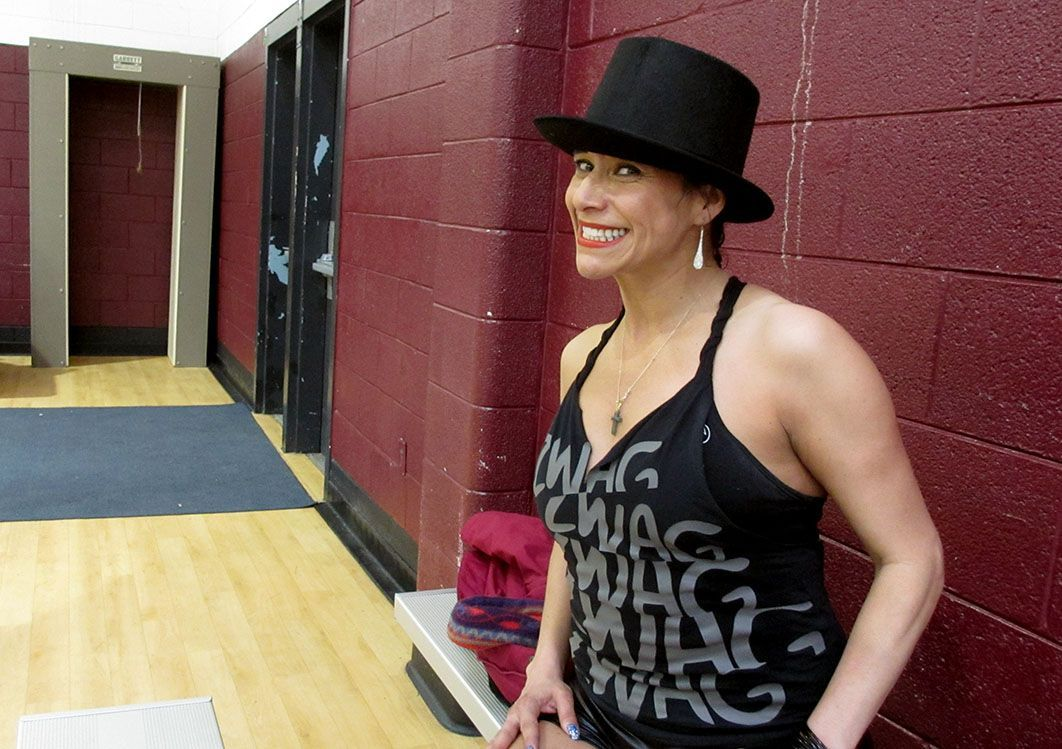 """Maria Elena Williams was thrilled to give back to Salvation Army by leading a few Zumba routines. """"I love it,"""" she said. Williams teaches Zumba in Raleigh. (Staff photo by Amber Younger)"""