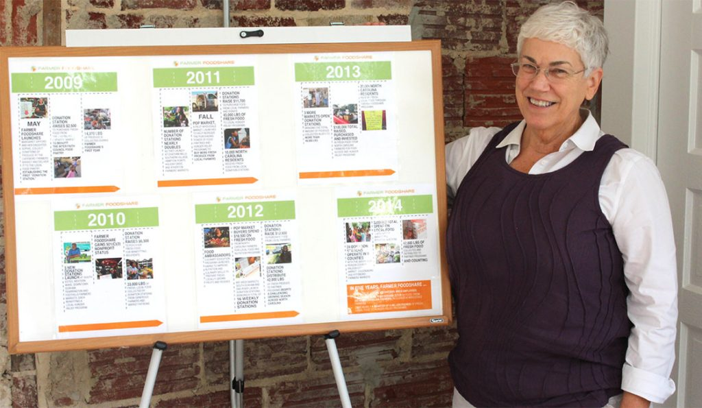 Lisa Hatley, Director of Development for the Farmer Foodshare program proudly shows off the progress they have made in the past five years. Photo by Rowland Givens.