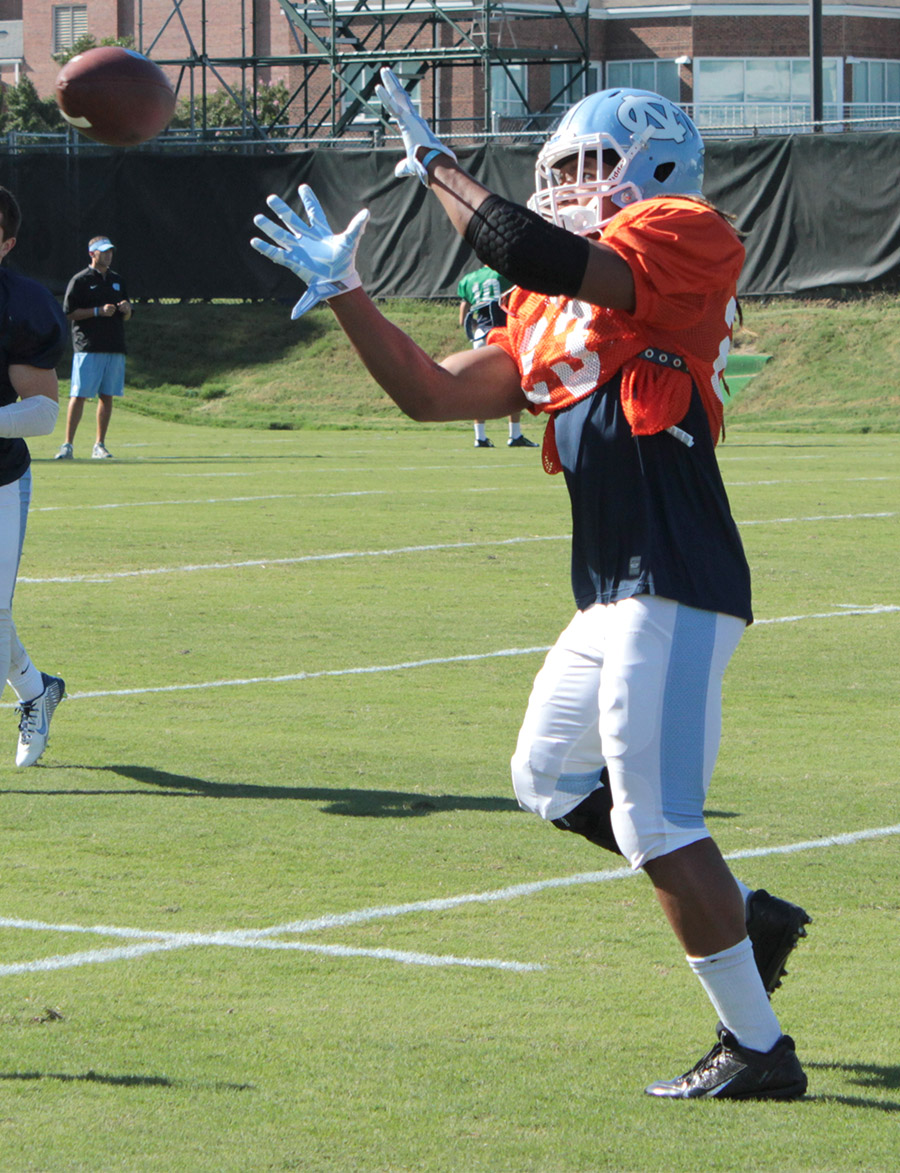 Khris Francis practicing on Navy Field at UNC-CH this week. (Staff photo by Jeremy Vernon)