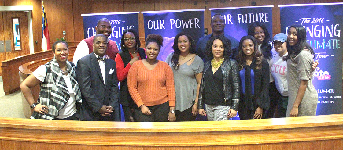 (from left to right) Host Stefanie Brown James, panelist Telley Madina, panelist Brittany Packnett, panelist Kirin Kennedy, panelist Kwame Jackson, panelist Tamika Mallory and NCCU law students gather after the talk. (Staff photo by Nijah McKinney)