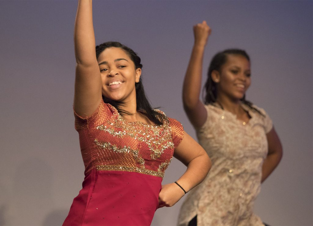 Bailey Wadlington (left) and Yashi Kudumu-Clavell (right) in the well-loved Bollywood dance number during Act Two. (Staff photo by Brenna Elmore)