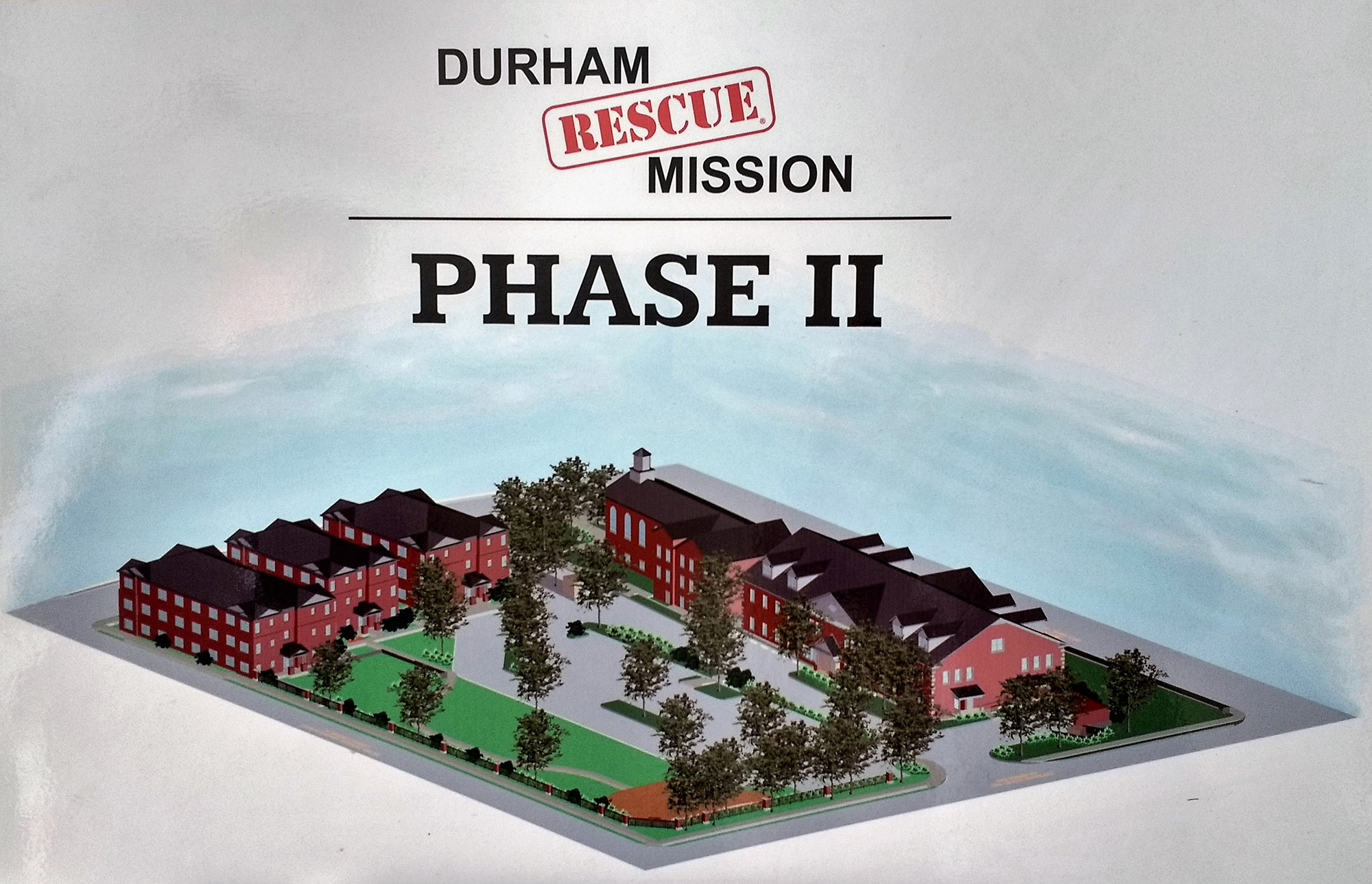 An illustration of the expansion and new construction on the Durham Rescue Mission campus after its completion. (Staff photo by Thaddeus Berglund)